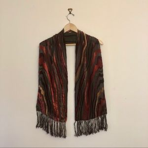 Unique red, yellow, brown scarf